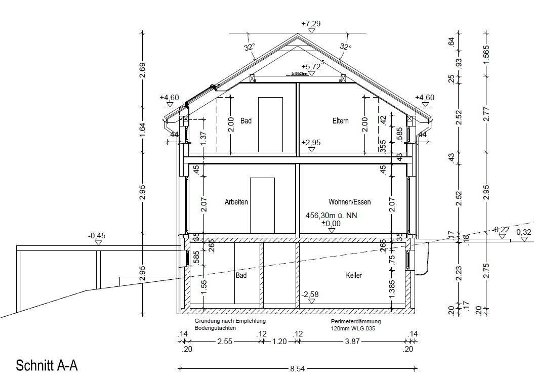 Schnittzeichnung Haus preiswert bauen in teurer gegend juli 2016