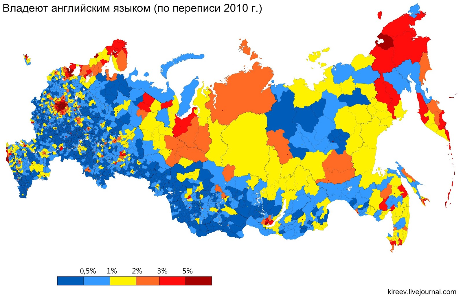 How much of Russia's population speaks English?