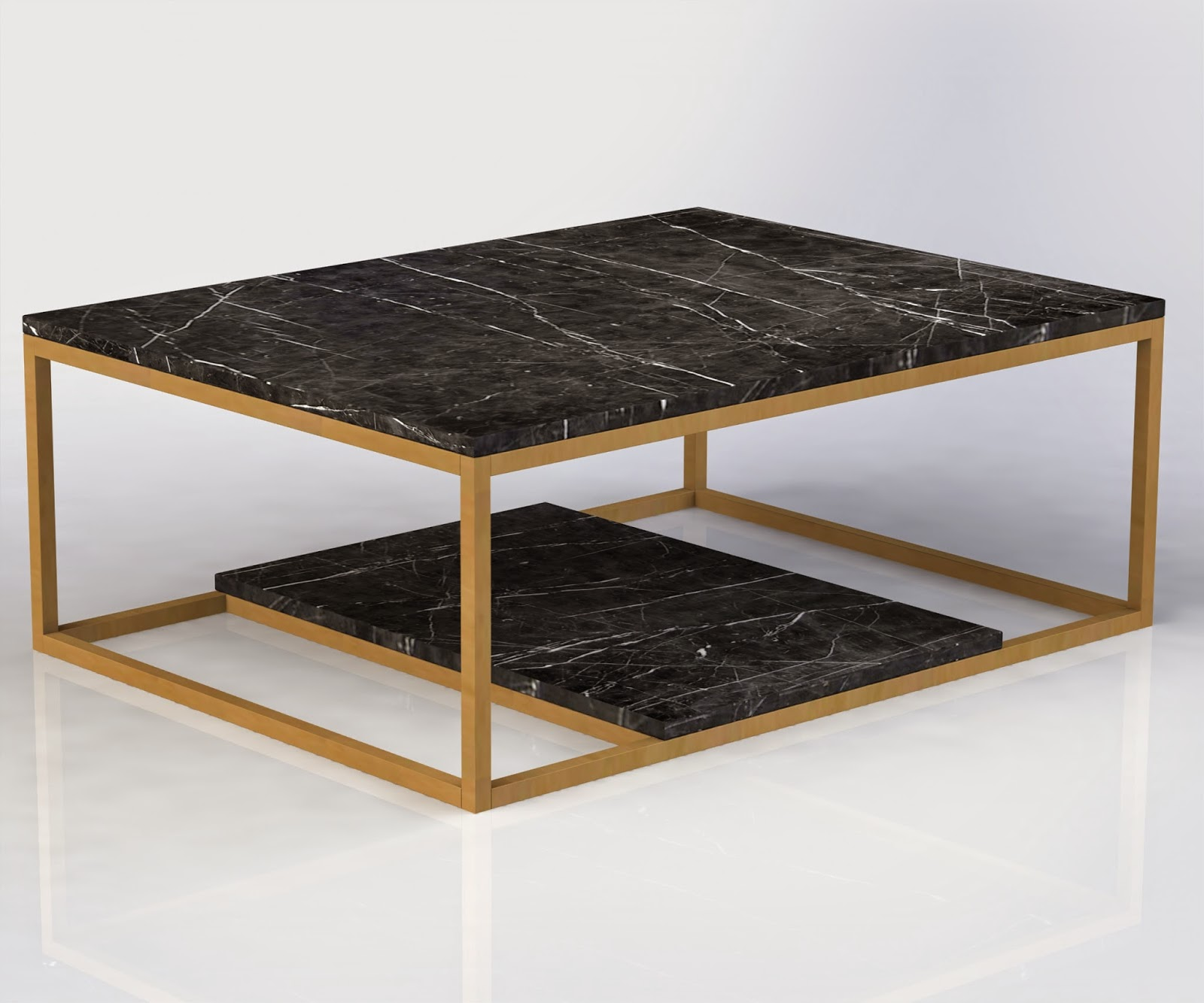Black Coffee Table With Marble Top: Urban Ironcraft