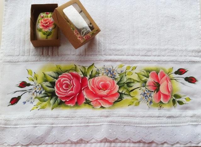 pintura em tecido rosas jogo banho