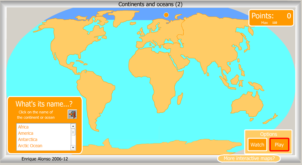 Maths science year 6 continents and oceans interactive map continents and oceans interactive map and game gumiabroncs Image collections