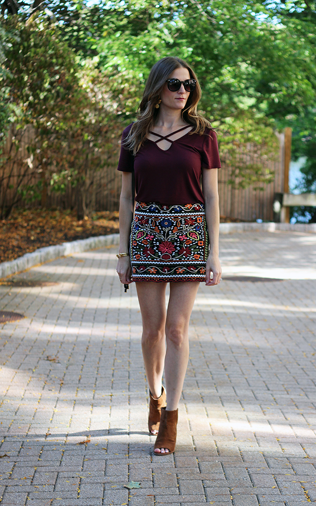embroidered skirt and cross front tee