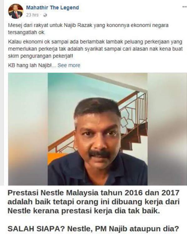 Di buang kerja kerana prestasi teruk tuduh kerana ekonomi negara teruk dan salahkan Najib