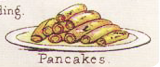 Colored image, rolled pancakes.
