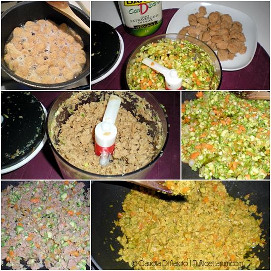 Penne al ragù di soia e zucchine