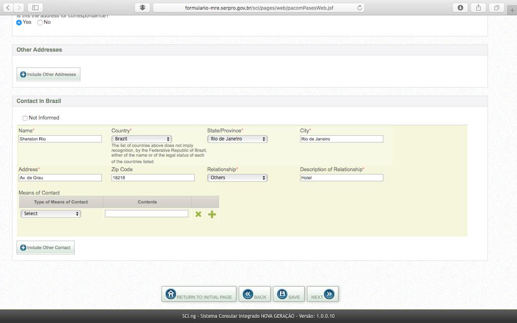 Pengalaman Mengurus Visa Brazil di Jakarta - Form Aplikasi Online Contact Data