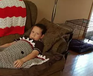 """There's A Hilarious Mistake In This Cute Shark Blanket A Grandma Made For Her Grandson"""