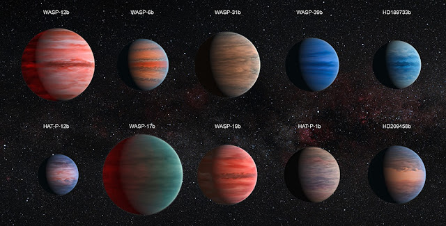 This image shows an artist's impression of the 10 hot Jupiter exoplanets studied by astronomer David Sing and his colleagues using the Hubble and Spitzer space telescopes. From top left to lower left, these planets are WASP-12b, WASP-6b, WASP-31b, WASP-39b, HD 189733b, HAT-P-12b, WASP-17b, WASP-19b, HAT-P-1b and HD 209458b. Credit: NASA/ESA