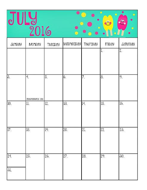 July 2016 Printable Calendar, July 2016 calendar, july calendar 2016 printable