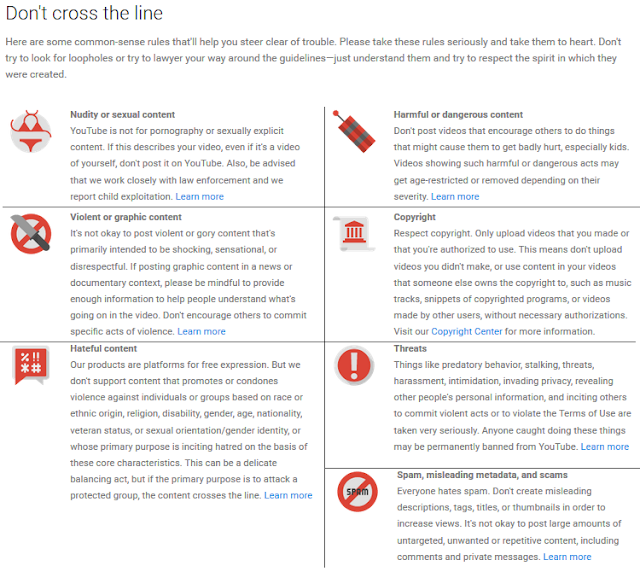 YouTube community guidelines don't cross the line common-sense rules image icons