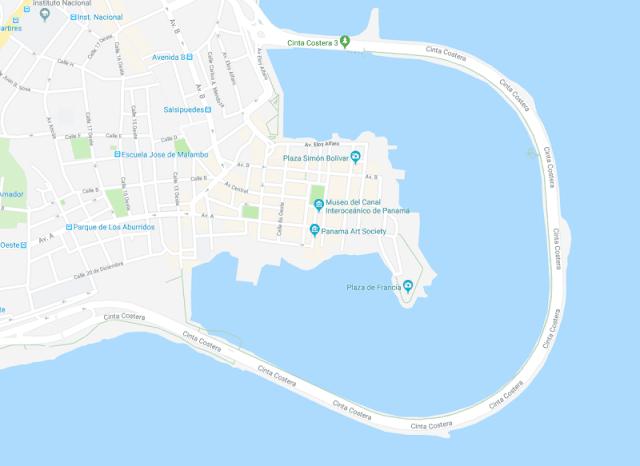 mapa casco viejo de panama