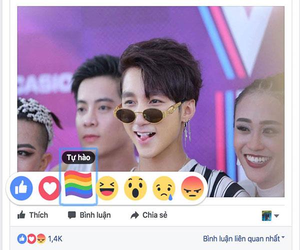 Facebook xuat hien them bieu tuong cau vong