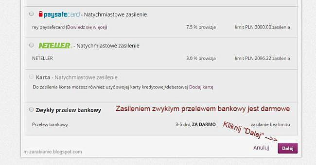 Skrill — Zasilenie zwykłym przelewem bankowym