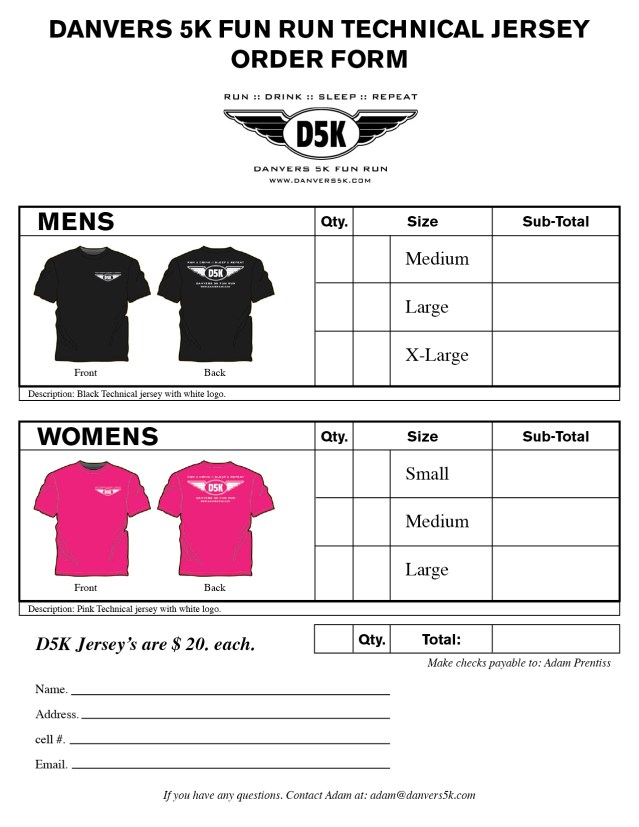 t shirt order forms template free
