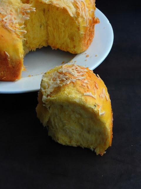 Eggless Pumpkin Cheese Bread, Cheese Pumpkin Bread