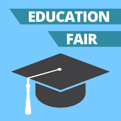Poster with an illustrated image of a graduation cap.  Text in banner: Education Fair