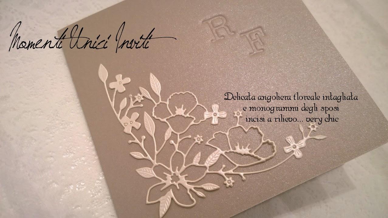 """floral%2Bchic Partecipazioni """"Floral Chic"""" per Renato e FabiolaColore Sabbia Linea Floreale Partecipazioni intagliate"""