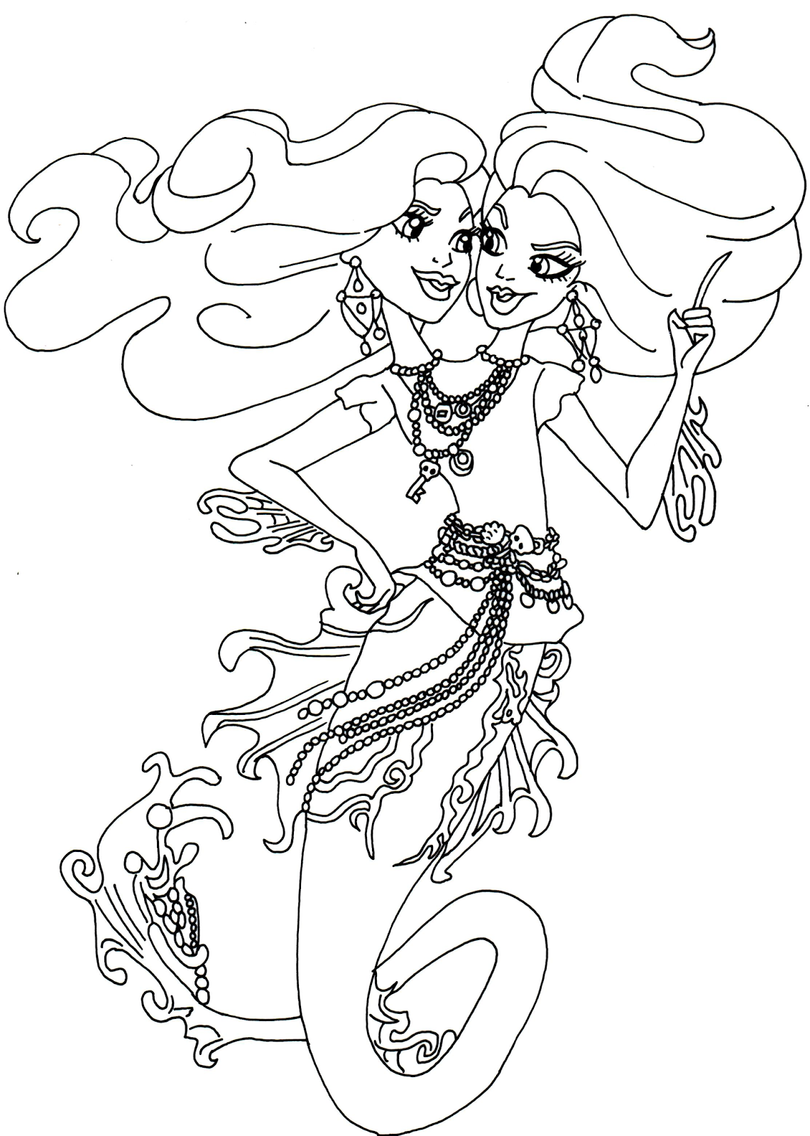 Free Printable Monster High Coloring Pages Peri And Pearl Serpentine Monster High Coloring Page