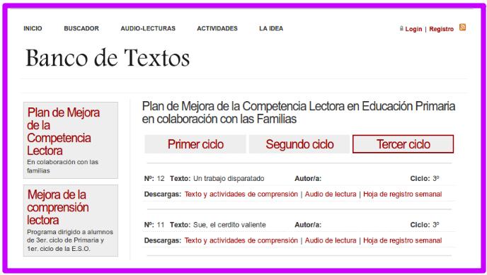 http://recursosdidacticos.es/textos/actividades_plan_competencia_lectora.php?ciclo=3