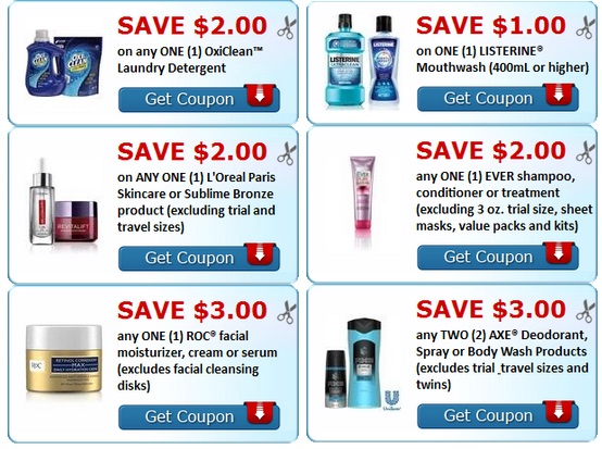 printable coupons Axe, Oxi clean, Roc, Loreal