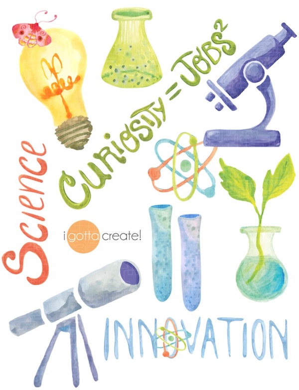 Science for an uplifted world. Gouache by iGottaCreate!