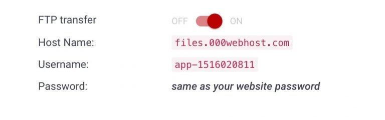 FTP-details