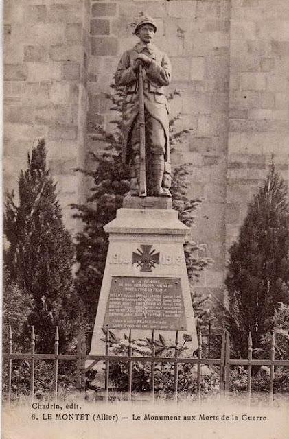 CPA monuments aux Morts de l'Allier, Le Montet