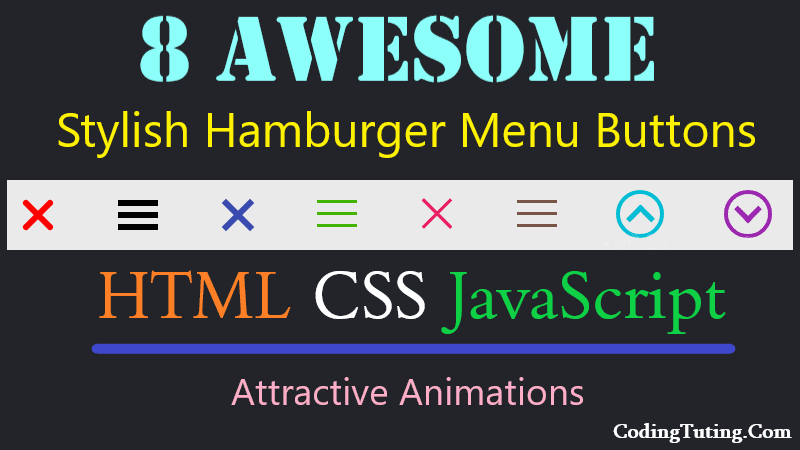 Animated Hamburger Menu Button in HTML CSS JavaScript for mobile and desktop