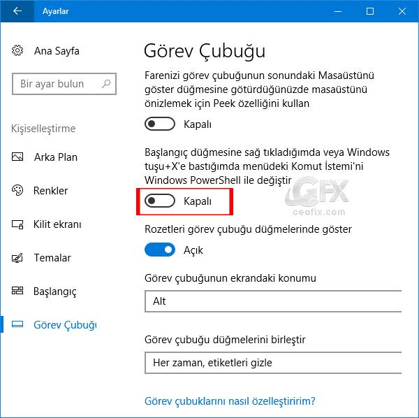 komut istemini Windows power Shell ile değiştir.