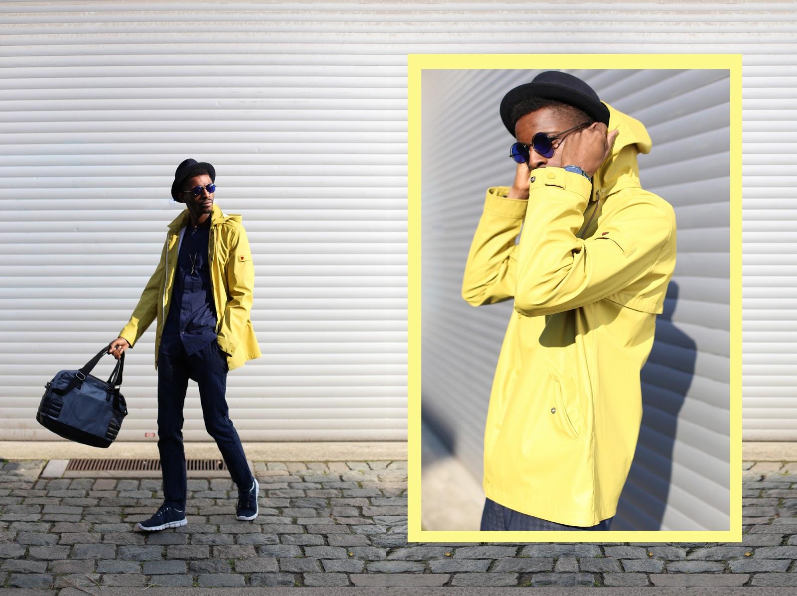 All Blue Urban city look with Strellson Coat