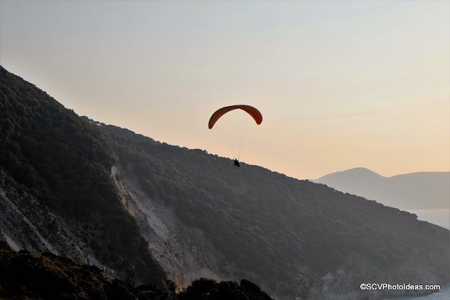 Paragliders at Myrtos Sunset No 2