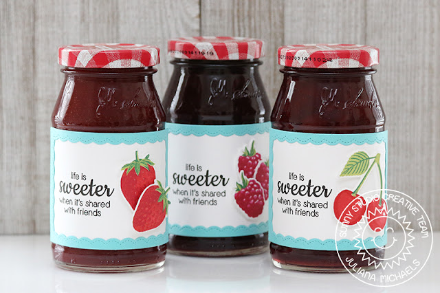 Sunny Studio Stamps: Berry Bliss Fancy Frames Stamped Jelly Gift Jar Labels by Juliana Michaels