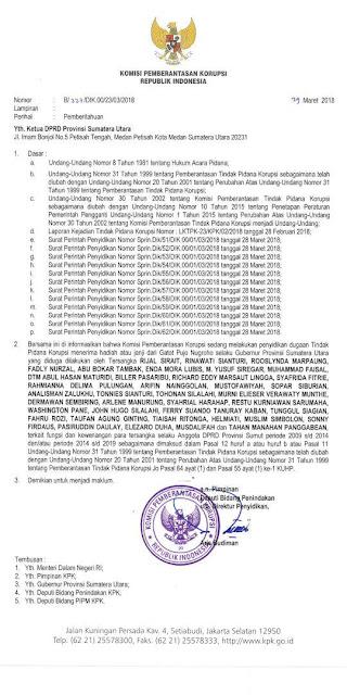 Surat edaran KPK terkait penetapan tersangka 38 anggota dsn mantan anggota DPRD Sumut