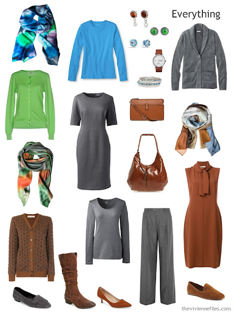 a travel capsule wardrobe in rust, grey, blue and green