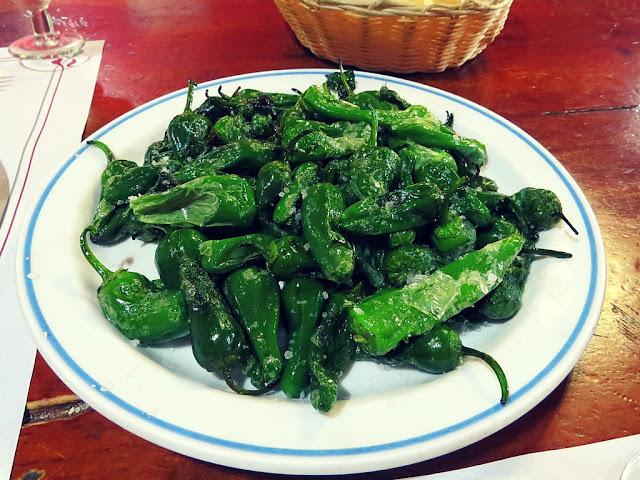 Typical Lanzarotan cuisine - pimientos padron