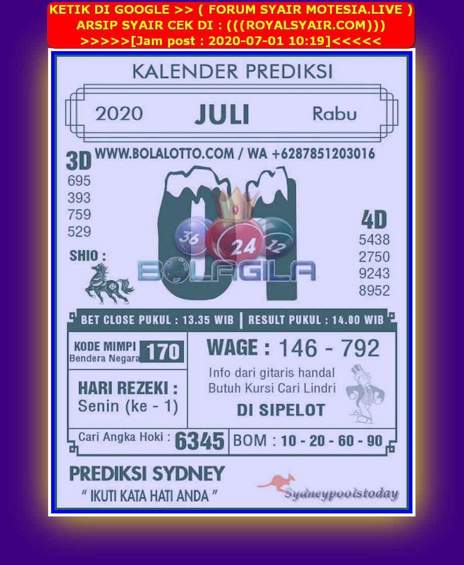 Kode syair Sydney Rabu 1 Juli 2020 204