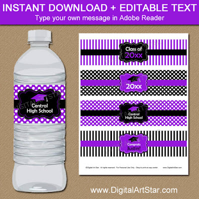 purple black graduation party bottle wraps