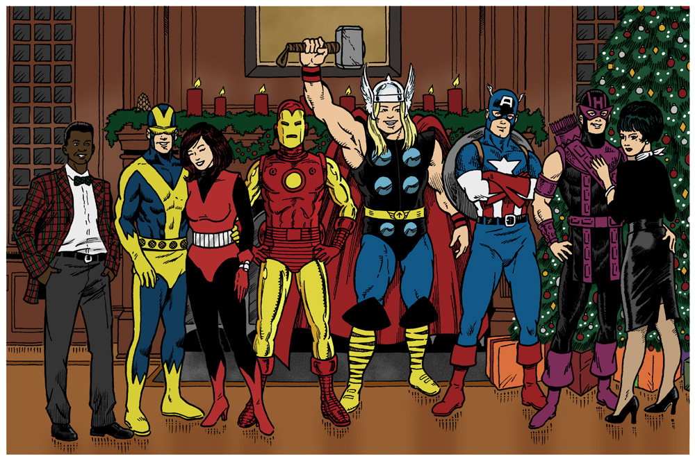 Bill Foster, Goliath, Wasp, Iron Man, Thor, Captain America, Hawkeye, and Natasha Romanova standing in front of an Avengers Mansion fireplace next to a Christmas tree.