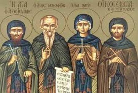 Αποτέλεσμα εικόνας για Όσιος Ξενοφών μετά της συμβίου του Μαρίας και των τέκνων Αρκαδίου και Ιωάννη 26 Ιανουαρίου