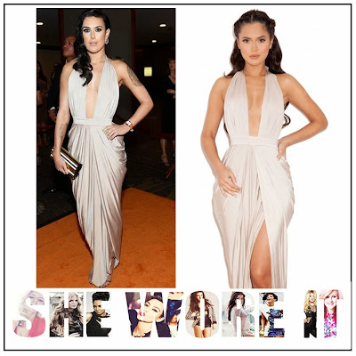 Celebrity Style, Champagne, Dancing With The Stars, Deep V Neckline, Draped, Dress, Halterneck, House Of CB, Low back, Maxi Dress, Open Back, Plunge Front, Rumer Willis, Silk Jersey, Sleeveless, Taupe,