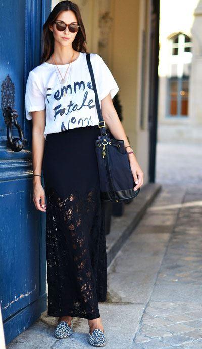 eb26d8311 Neste inverno as peças de renda, sobretudo as saias longas, são mesmo  must-have nos guarda-roupas fashionistas!
