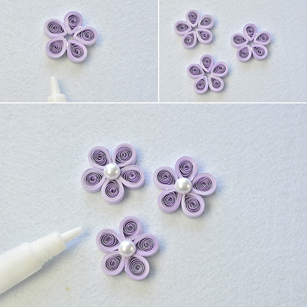 Crafting wire making lilac quilling paper flower necklace with step 4 add a round pearl bead 10mm pearl 8mm pearl and 6mm pearl to an eyepin and make a loop at the other end of it then make more such pearl mightylinksfo