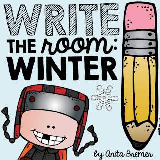 Winter Write the Room literacy center for Kindergarten and First Grade