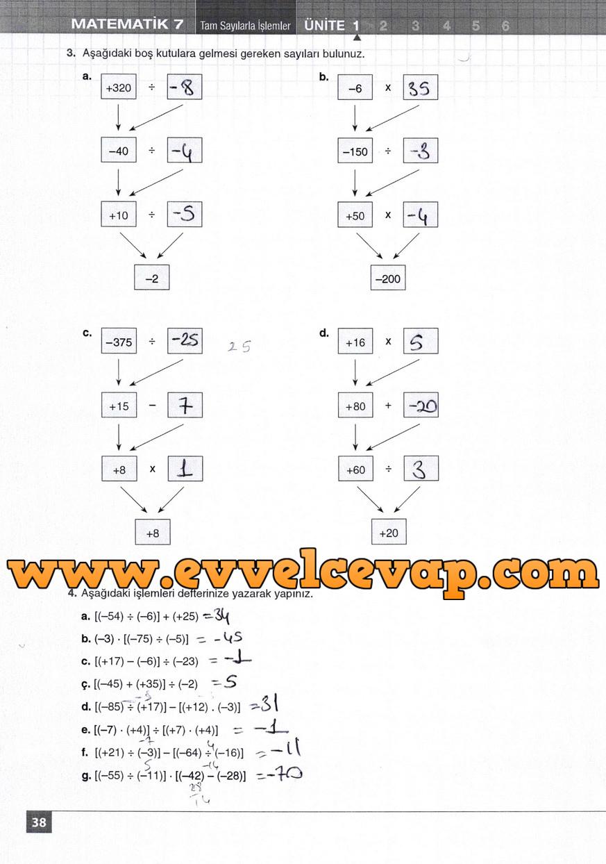 7. Sınıf Matematik Koza Yayınları 38. Sayfa Cevapları