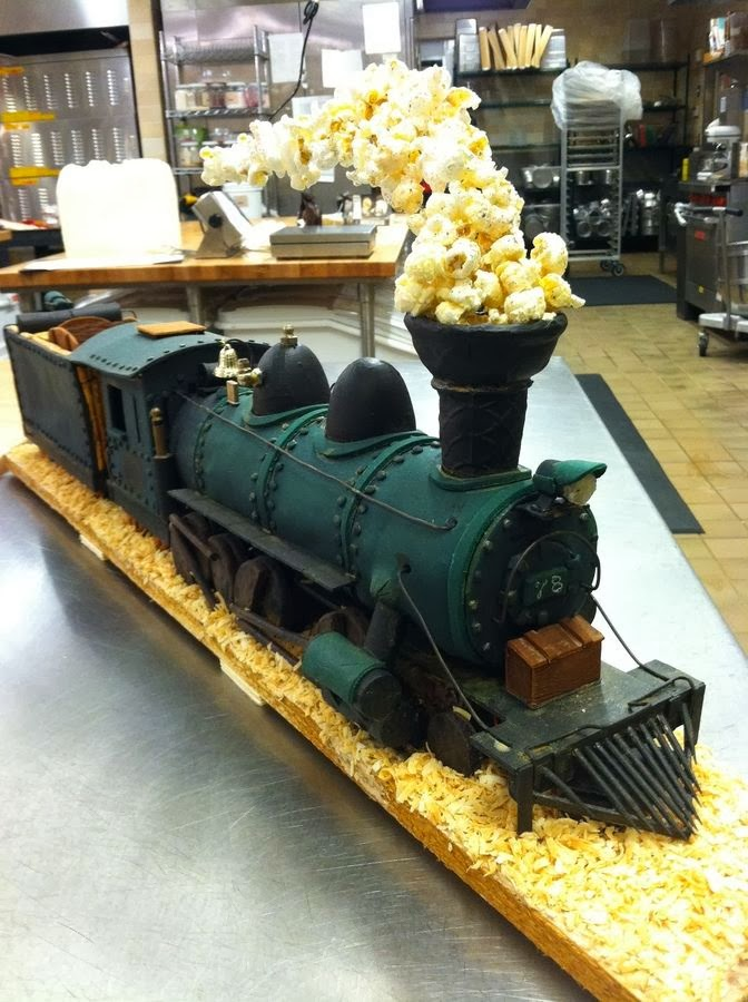 Just A Car Guy Steam Locomotive Cake With Popcorn