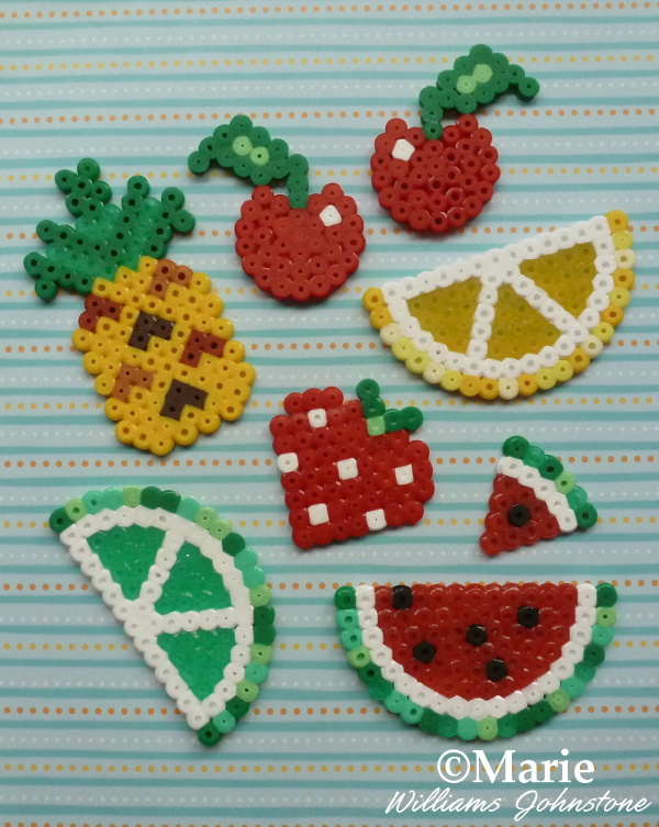 Perler bead fruit slices summer fruits Hama fused beads patterns designs by CraftyMarie