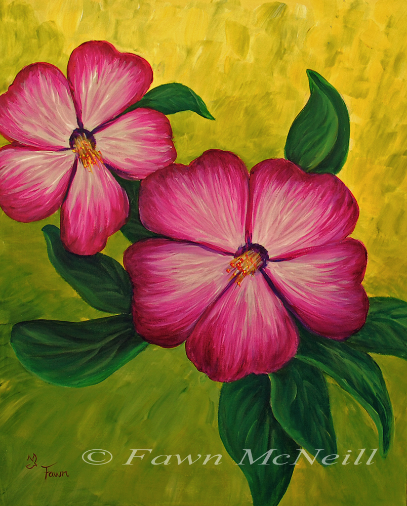 Fawn's Paintings: Flowers, Class Demo, red violet flowers