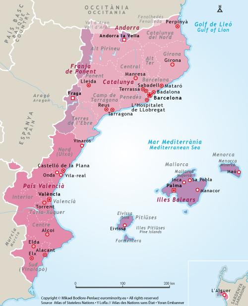 Spanien Katalonien Karte.Euro Ethnien 2 132 Katalanen Katalonien Katalanisch Català
