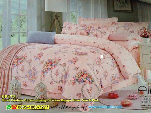 Sprei Custom Katun Jepang Dewasa Bunga Rose Peach Pink