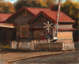 Oil painting of a red-roofed building with a white fence beside a rail crossing with a boom gate.
